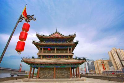 chine,xi'an : remparts ming et centre-ville