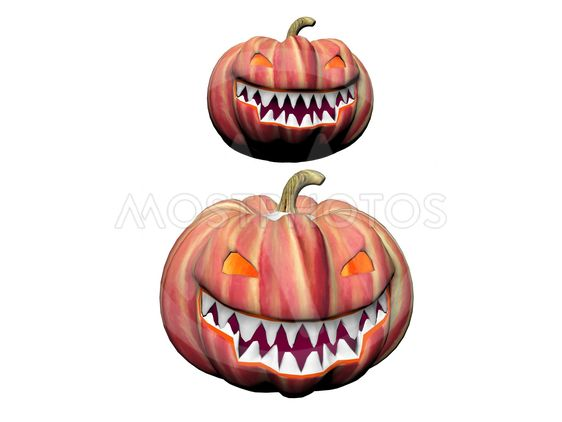 two orange pumpkins - 3d render