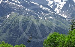 Сableway moving up over a Caucasus mountains