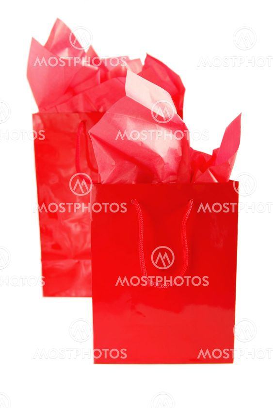 Röd shoppingväskor