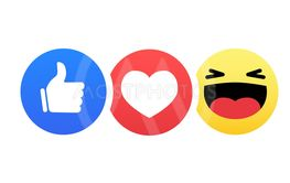 Abstract funny flat style emoji emoticon reactions color...