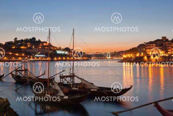 Traditional porto wine boats in Porto, Portugal