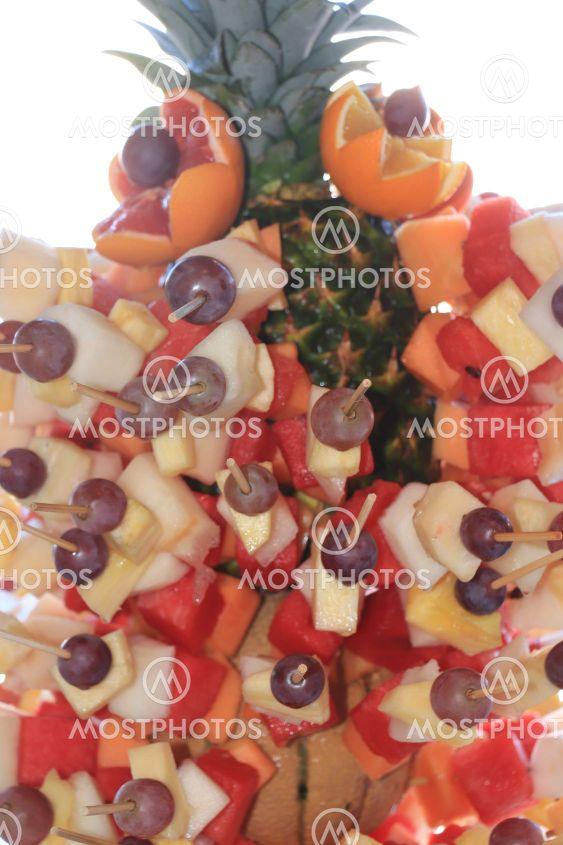 Fruit statue at buffet