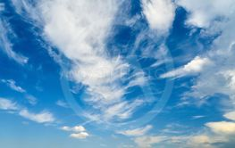 Many white clouds in the blue sky