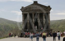 garni unidentified people near the antique temple