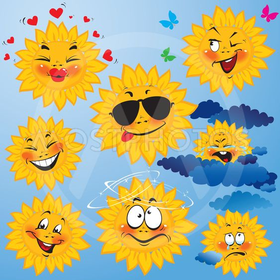 Set of cute cartoons of sun with different expressions...