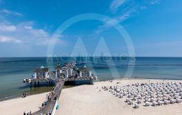 Pier on the Baltic Sea coast in Goehren, Germany