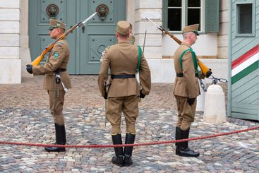 Changing the military guard in front of Sandor Palace...