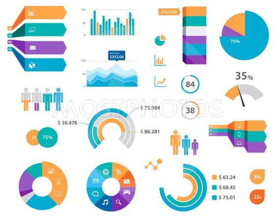 Vector Infographics Chart Labels And Icons