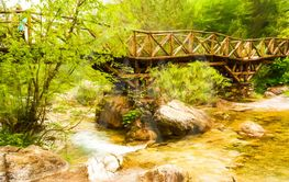 Wooden bridge in the mountains of Olympus, Greece