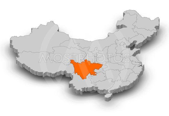 Map - China, Sichuan - 3D-Illustration