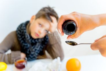Boy having flu
