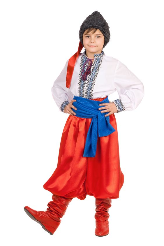 Boy in the Ukrainian national costume. Isolated