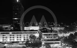 Aerial view of Berlin at night in black and white