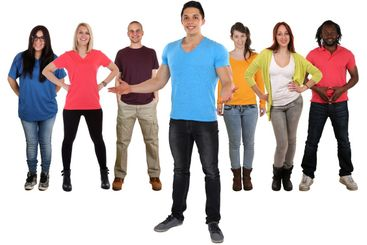 Young happy people friends welcome standing isolated