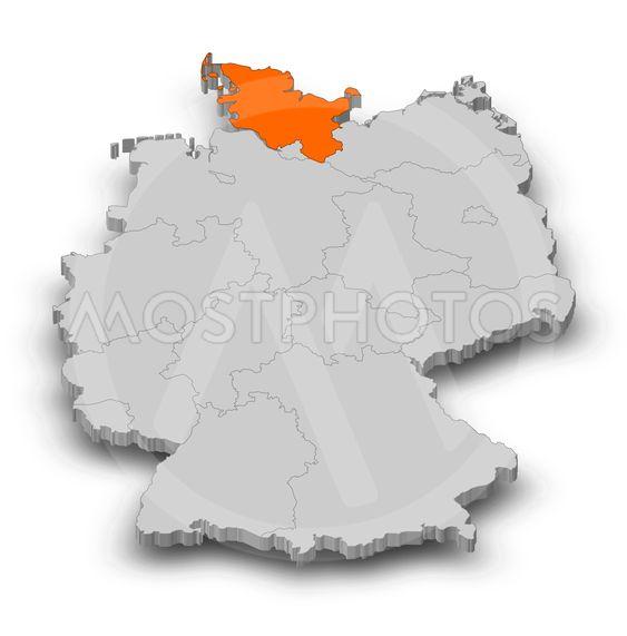 Map - Germany, Schleswig-Holstein - 3D-Illustration