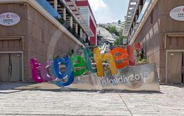 Walking peaople at Pedestian streets of city of Plovdiv
