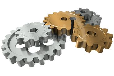 Nail between gears - a symbol obstacle in business