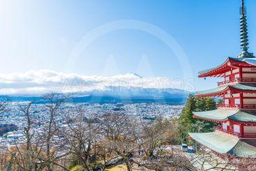 Mt. Fuji with Chureito Pagoda in autumn, Fujiyoshida.