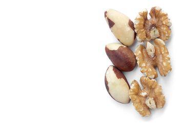 Three brazil nuts and walnuts