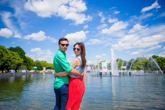 Young tourist couple traveling on holidays in Europe...