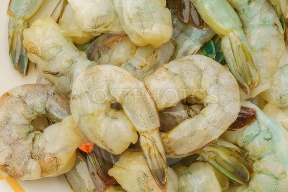 Close up of Raw shrimp .