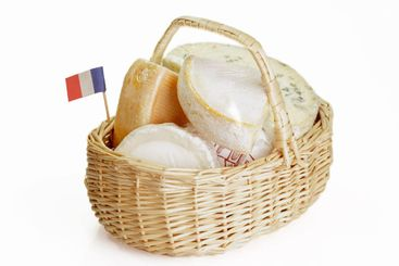 French cheese in a basket