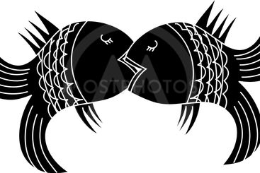 Kiss of two fishes black silhouette on a white background.