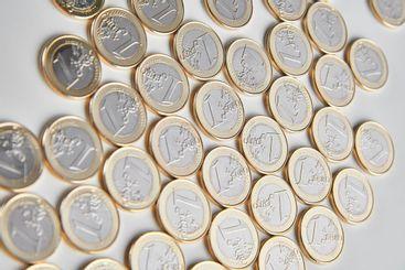 Piles of money, new euro currency. Economy