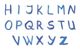 Vector font in blue colors. Watercolor paint.