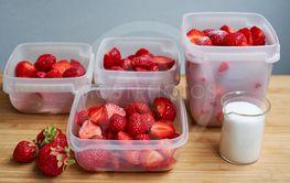 Fresh strawberries in plastic boxes