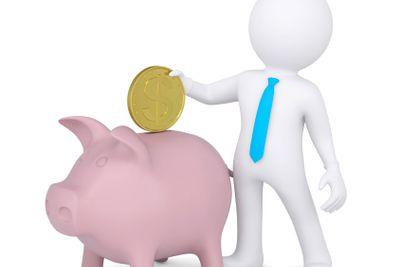3d white man drops a coin into the piggy bank