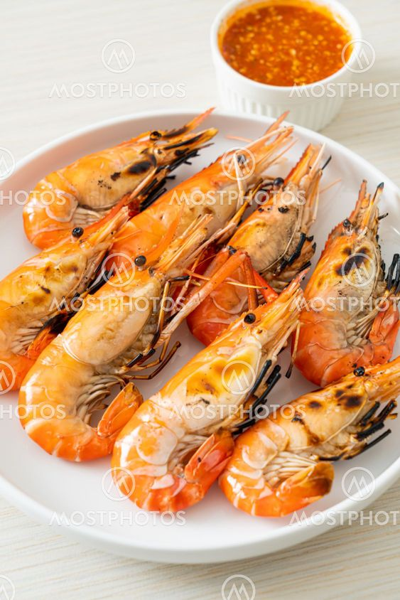 grilled river prawns or shrimps