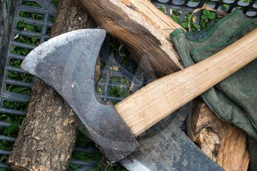 Old Axe and splinters of wood