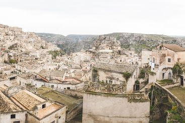 Panoramic view of old town in Matera, Italy