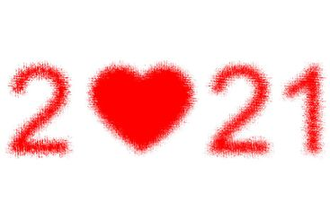 Happy New Year 2021 celebration background heart red