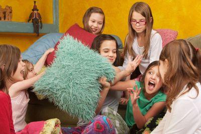 Little Girls Pillowfighting