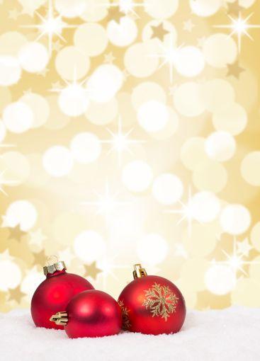 Red Christmas balls background stars gold golden...