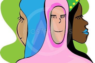 Three Serene Muslim Women In Meditation