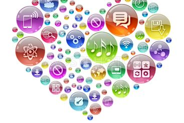 Silhouette heart consisting of apps icons