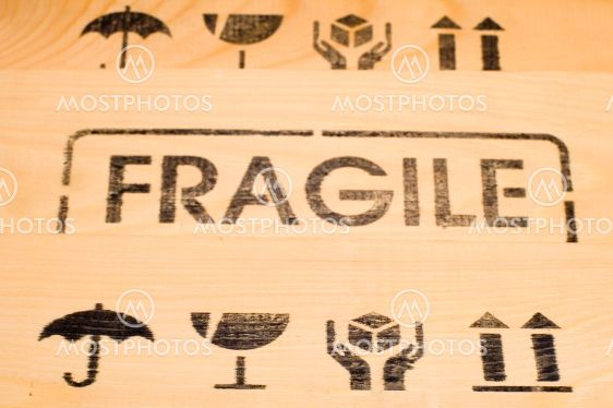fragile sign on wood