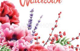 Colorful watercolor peonies flowers greeting card