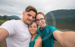 Selfie of family on the Teletskoye lake