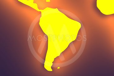 Glowing World map - South America