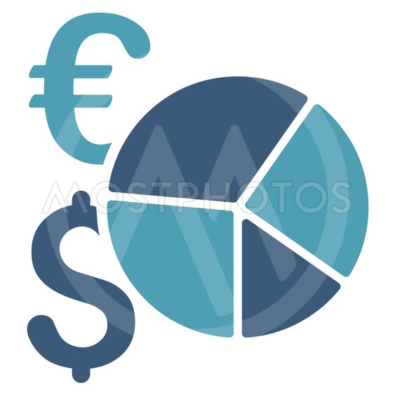 Dollar and Euro Pie Chart Flat Vector Icon
