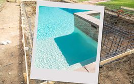Swimming Pool Construction Site with Picture Photo Frame...