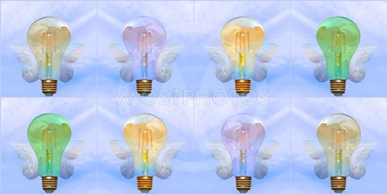 Colorful Lightbulbs with wings.