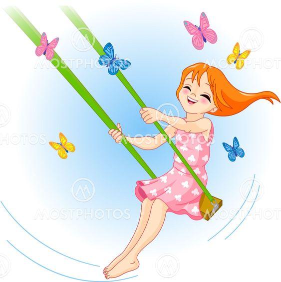 The lovely girl on a swing