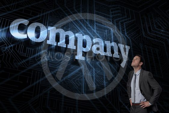 Company against futuristic black and blue background