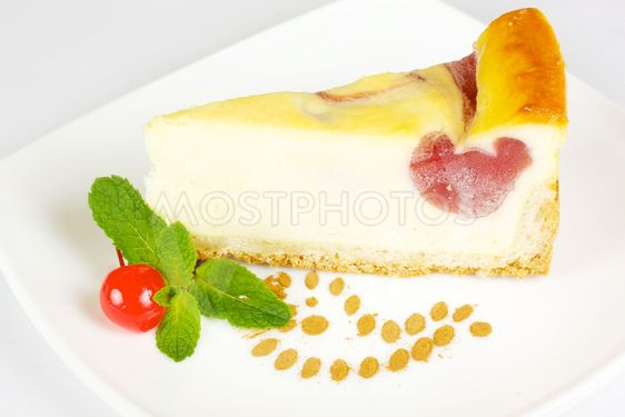 Cheesecake isolated on white